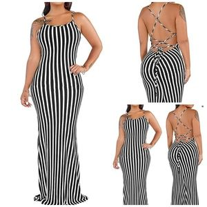 Black Striped Backless Maxi Dress